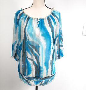 Lane Bryant Blouse 3/4 sleeves  blue beige sz 12